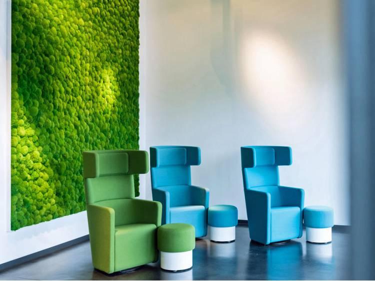 Panel z mchu poduszkowego na ścianę Ciemnozielony 45x45cm
