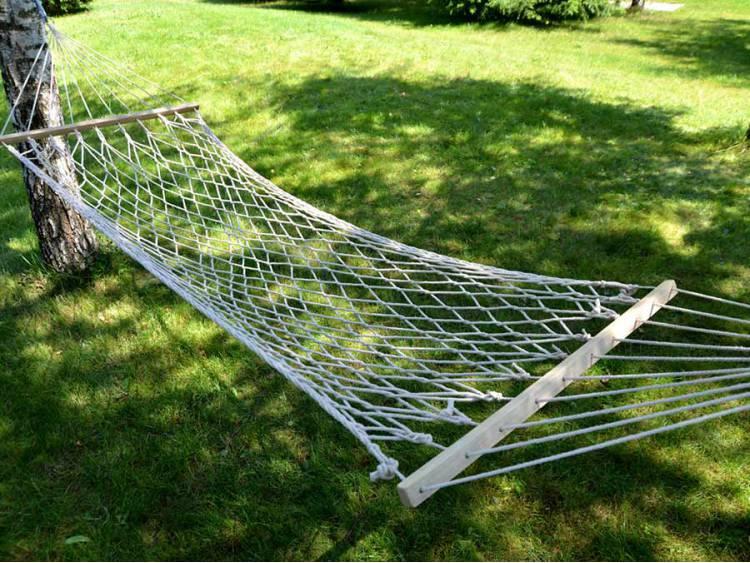 Hamak ogrodowy siatkowy z rozpórką 200x80cm