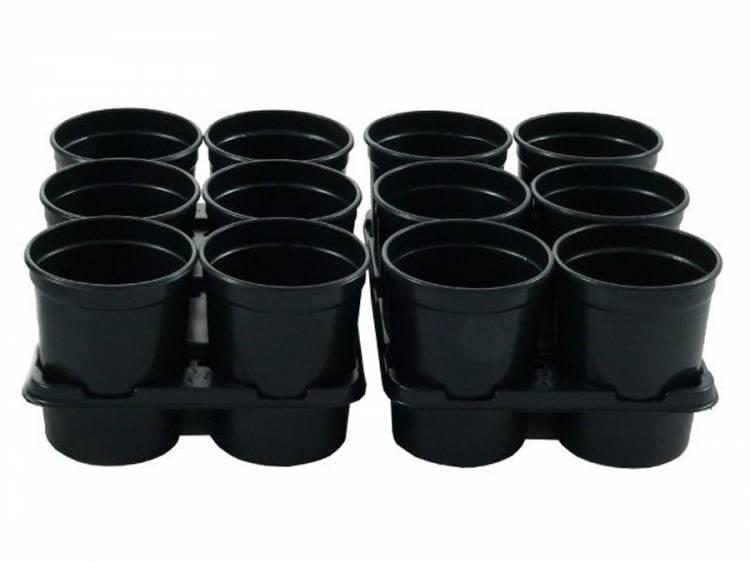 Doniczki okrągłe czarne 12 szt. PR807 + 2 tace
