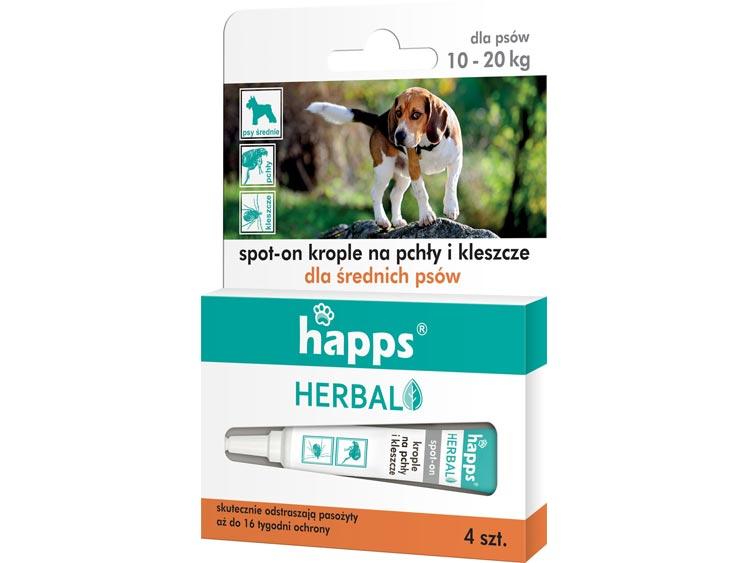 Krople na pchły i kleszcze dla psów średnich - HAPPS Herbal